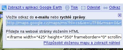 Odkazy na mapu Google
