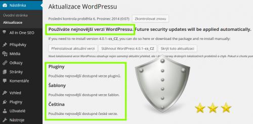 WordPress je aktualizován