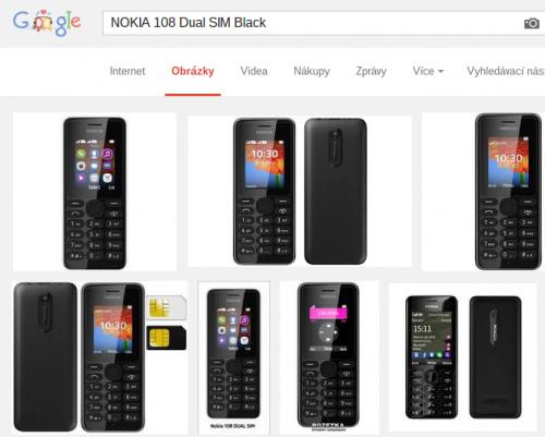 Výsledky vyhledávání mobilu Nokia