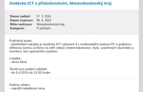 Požadavek na dodání 4 PC